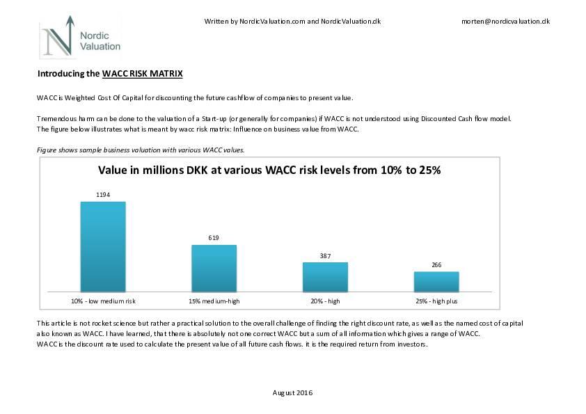Introducing the WACC RISK MATRIX